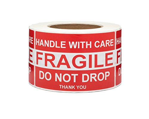"""Saurus 500 Labels Per Roll, 3"""" X 5"""", Fragile Stickers, Do Not Drop Labels, Handle with Care Shipping Labels, 1 Roll"""