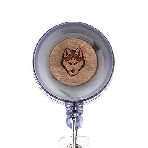 MODERN GOODS SHOP Husky Id Badge Holder - Wooden ID Holder - Laser Engraved Design Custom ID Holder - Clip On Belt/Pocket Retractable ID Badge Holder