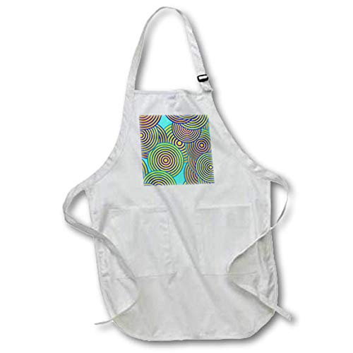 (3dRose Lens Art by Florene - Abstract Designs - Image of Huge Spiral Circles in Green Red and Blue - Full Length Apron with Pockets 22w x 30l (apr_307716_1))