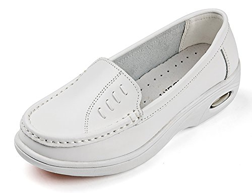 Loafers Women Flats Leather Working Vivident Genuine White 812 Medical Shoes Nurse Soft Professional tRwzvHqWvS