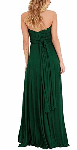 Respaldo Dama sin EMMA Noche de de Mujeres Cóctel Larga Verde Elegante Honor Vestido Falda de A7ATOraq