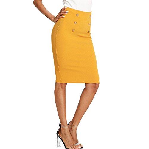 Bangyin Double Bouton Jupe Crayon D't Taille Haute Genou Longueur Jupe Solide Femmes Ginger OL Travail Moulante Jupe lgante Gingembre