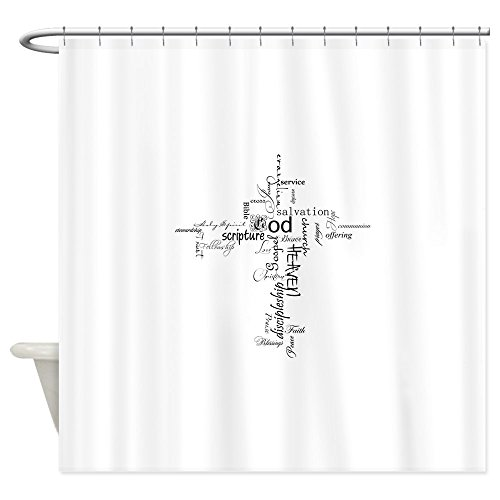 CafePress - Christian Cross Word Collage - Decorative Fabric Shower Curtain (69''x70'') by CafePress