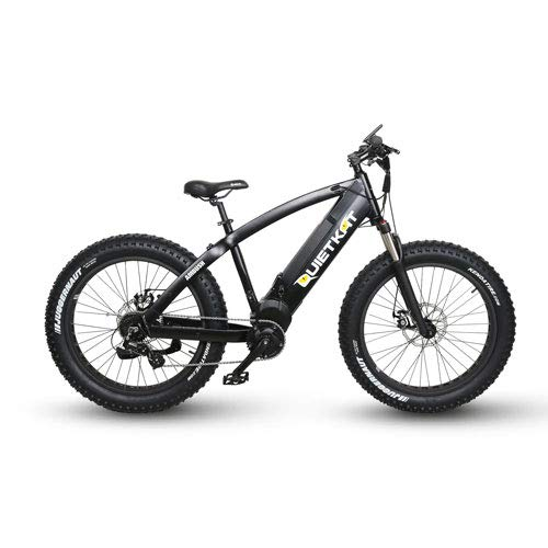 QuietKat Ambush 750W Electric Bike for Backcountry, Hunting and Fishing - Bafang Mid Drive Motor, 8-Speed Gear, Mechanical Disc Brake - Black, 19
