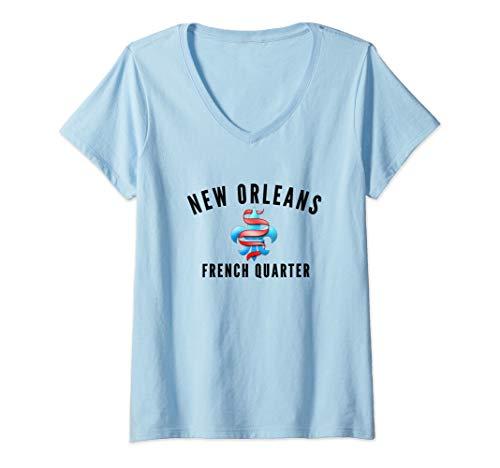 Womens New Orleans Historic French Quarter V-Neck T-Shirt