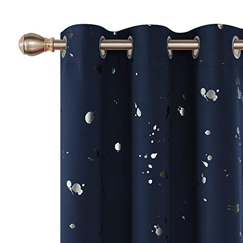 Deconovo Silver Dots Printed Thermal Insulated Blackout Curtains with Grommet Top Light Blocking Curtain Drapes for Bedroom 38W x 72L Navy Blue Set of 2 - Fabric Drapery Dot