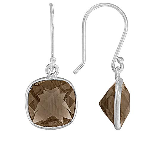 square cushion Smokey Quartz Gemstone Earring Cushion Smokey Quartz Earring