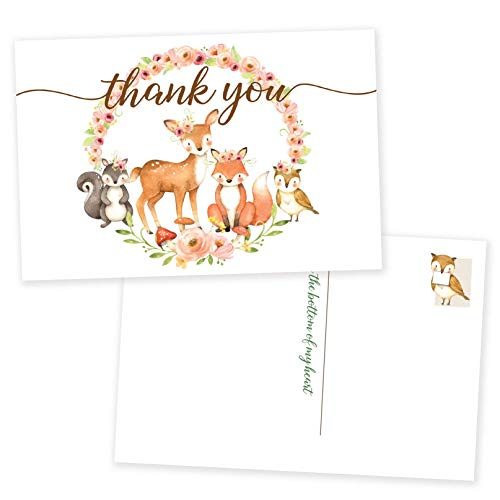 Paper Kit Co. Woodland Thank You Postcards | 50 Pack. No Envelopes Needed for these Blank Gender Neutral Cards. Bulk Set Boasts Owl, Fox, Deer, and Forest Animals. Perfect for Boy or Girl Baby Showers