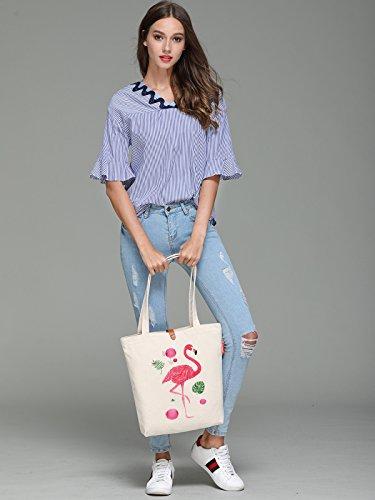 So'each Women's Animal Flamingo Graphic Top Handle Canvas Tote Shoulder Bag