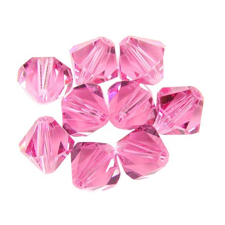 100 pcs 4mm Swarovski 5301 Crystal Bicone Beads, Rose, - Bicone 5301 Rose