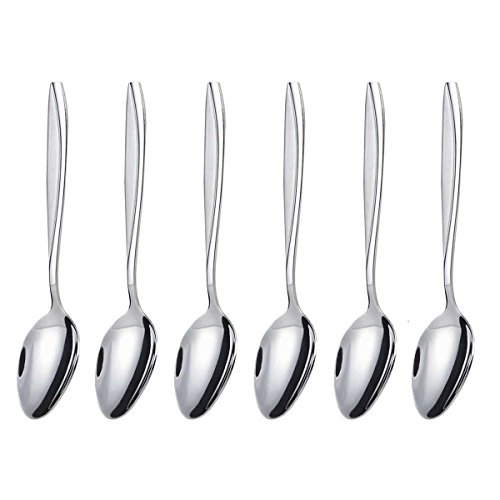 Tea/Dessert Spoon Set, MDEALY 6 Piece Spoon Set, 6.85 inch Stainless Steel Flatware Set for 6, Dishwasher Safe ()