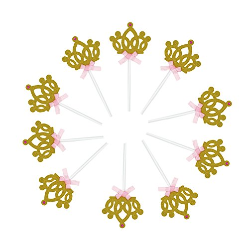 10pcs Twinkle Gold Crown Cupcake Toppers DIY Glitter Mini Wedding Bridal Shower Birthday Cake Decorations Picks with Bling Artificial Diamond Suppliers Party Favor Pack