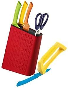 Scanpan Spectrum 6 Piece Uni Block Set Colourful Shears + Knives + Sharpener