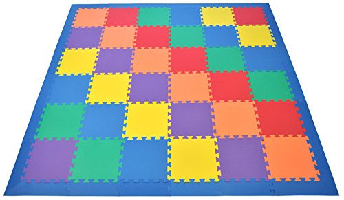 Non-Toxic Rainbow foam Wonder Mats w/Blue Edges: Non-Recycled Quality & Waterproof Extra Thick 36 Pieces 6 Colors