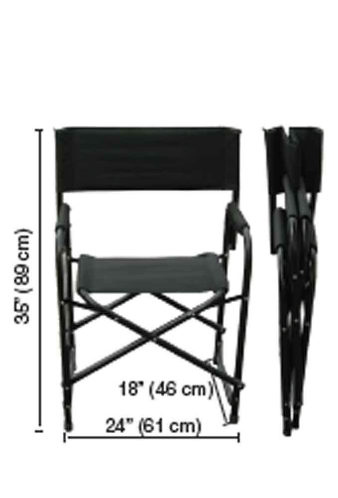 Set of 2 284009001-VC Folding Heavy-Duty Aluminum Frame Black 35 Inches Impact Canopy Directors Chair