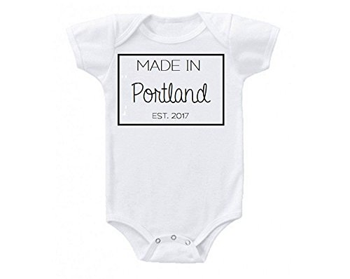 Promini Made in Portland Cute Funny Baby Onesie Gift Novelty Tshirt Costume Babies Bodysuit ()