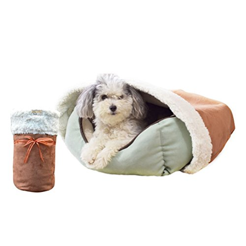 BedHug | Pet Burrow Blanket | for Dogs, Cats, Puppies & Kittens | Naturally Relieves Stress, Separation Anxiety & Nervousness | Ultra Cozy & Plush | Attaches to Your Own Pet Bed | Caramel, Medium (Heated Oval Pet)