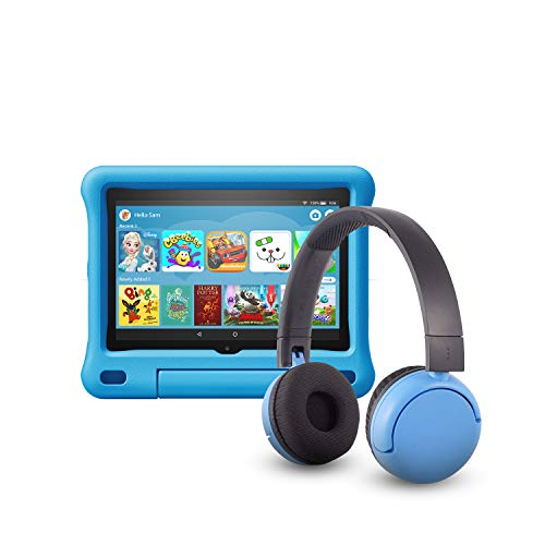 All-new Fire HD 8 Kids Edition tablet (32 GB, Blue Kid-Proof Case) + BuddyPhones Headset, Pop Time in Blue (Ages 8-15)