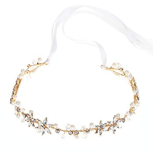 TOYANDONA Handmade Crystal Flower Hair Wreath Bridal Headpiece Pearl Crown Crystal Headband Floral Garland (Golden) - Headpiece Pieces