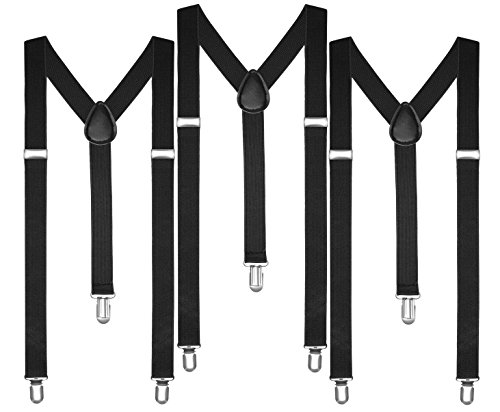 Boolavard Braces/Suspenders One Size Fully Adjustable Y Shaped with Strong Clips (3 x (Costume Suspenders)