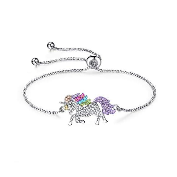 4MEMORYS Rainbow Unicorn Jewelry Set Including Pendant Necklace, Bracelet Rhinestone Crystal Rhodium Plated Women Girls… 5