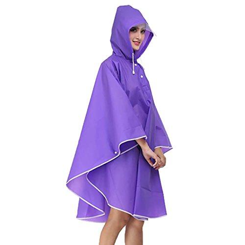 Sasairy Femme Impermable Vlo Impermable Pluie Randonne Capuche Voyage Violet Moto Portable de Camping Poncho Manteau pour parqpxdfn