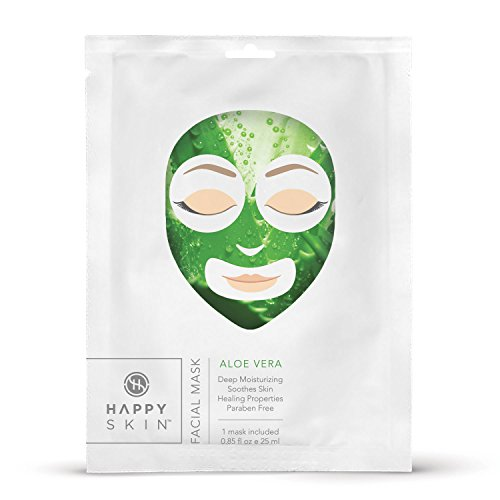 Happy Skin Rejuvenating Facial Sheet Mask, 5 Pack - Aloe (Aloe Vera Face Mask)