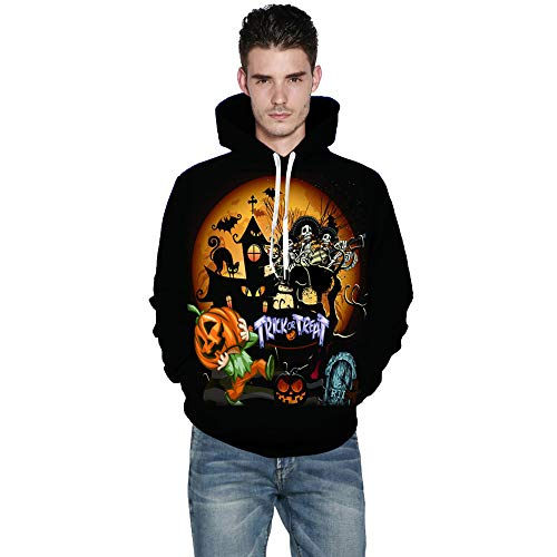 Sweatshirt for Couple, BXzhiri Couple's Warm Sweatshirt Mens Casual Scary Halloween 3D Print Party Long Sleeve Hoodie