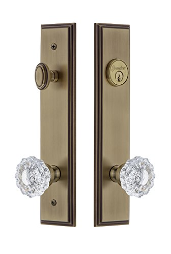 Grandeur Hardware 840395 Carre' Tall Plate Complete Entry Set with Versailles Knob, Backset Size - 2.75