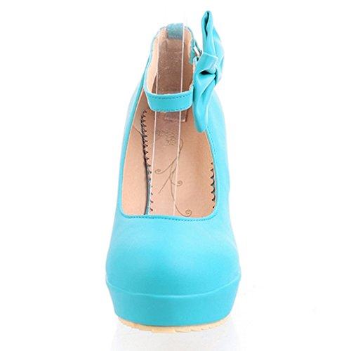 Femmes Compensé Chaussures Escarpins Bout Plateforme UH Talons à Douce Conforts Bleu Bride et Rond avec et Noeud Cheville SBfxqdIxw