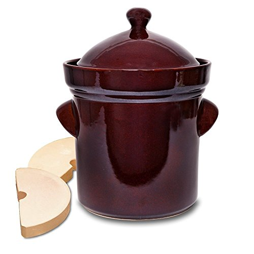 TSM Products Polish Fermenting Crock with Stone Weights,  5 L, Burnt Sienna by TSM Products
