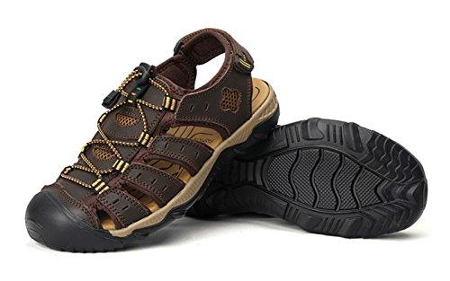 Liveinu Mens Sandali Outdoor Sport Sandalo In Vera Pelle Estate Profondo Marrone
