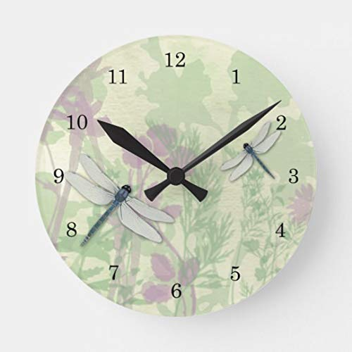 Moonluna Blue Dragonflies Nursery Wall Clock for Kids Wooden Wall Art Decoration Silent Non Ticking Christmas Clock Gifts 14 Inches