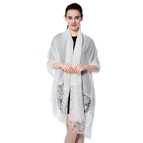 Fashion Shawls Scarves (Women Lightweight Fashion Lace Scarf Winter Wrap Shawl Gzcvba Soft Evening Coverup (White))