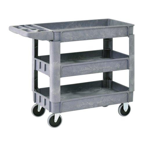Sandusky PUC174033-3 Gray Heavy Duty Plastic Utility Cart, 3 Shelves, 40'' Height x 33'' Width x 17'' Depth by Sandusky