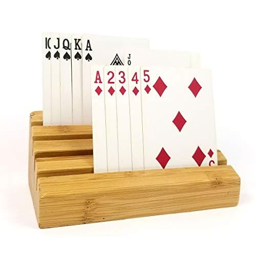 CardRax Hands-Free Playing Card Holders, Set of 2 Universal Wooden Racks - Great for Preschool Kids, Seniors (Shanghai Game)