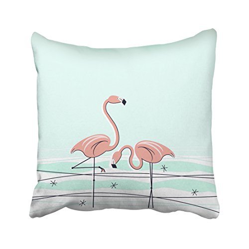 Pakaku Throw Pillows Covers for Couch/Bed 18 x 18 inch,Flamingos Pair Aqua Coral Home Sofa Cushion Cover Pillowcase Gift Decorative Hidden Zipper Design Cotton and Polyester (Flamingo Coral)