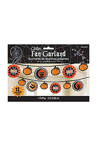 Amscan New Age Scare Halloween Party Midnight Creatures Fan Banner (1 Piece), Multicolor, 12' -