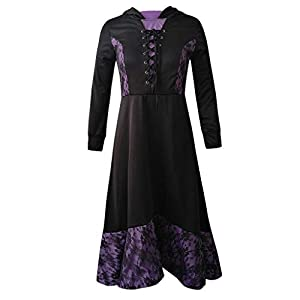 KPILP Women's Dress Gothic Steampunk Vintage Long Sleeve Front Bandage Summer Maxi Dresses Ladies Casual Party Cosplay Dress Irregular Hem Hoodie Fashion Dress