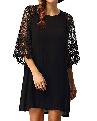 Dress Flared Sleeves Mini - ZANZEA Women Tunic Dress Lace Crochet Patchwork Flared Sleeve Loose Casual Summer Long Tops Shirt Mini Dresses Black L