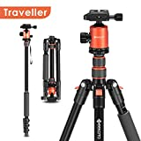 Geekoto Tripod, Camera Tripod for DSLR, Camera Monopod, Compact 58'' Aluminum Tripod with 360 Degree Ball Head and 17.6 LBS Load for Travel and Work(AT24 Traveller)