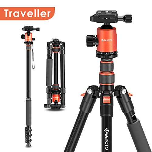 Geekoto 58'' Ultra Compact and Lightweight Aluminum Tripod with 360°...