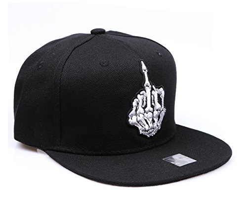 RufnTop Embroidered Adjustable Flat Bill Baseball Punk Hat Snapback Cap(Skull Fuck You Black)