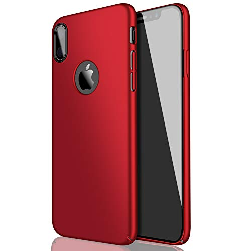 Eartonx Slim Fit Shell, Hard Plastic PC Ultra Thin Mobile Phone Cover Case Compatible for iPhone X (5.8)(2017)(Red)