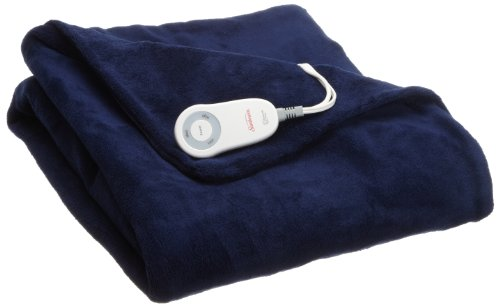 Sunbeam Heated Throw Blanket | Microplush, 3 Heat Settings, Royal Blue
