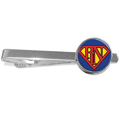 Super Registered Nurse RN Tie Clip - Handmade Silver Plated 16mm by Southern Style Handmade Gifts