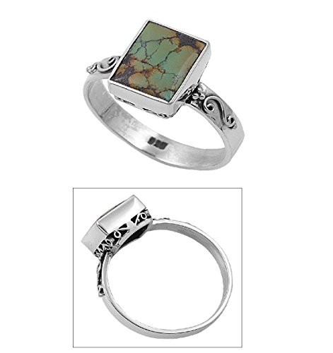 925 Sterling Silver Filigree Noveau Rectangular Simulated Turquoise Stone Ring 11MM Size (Sterling Silver Rectangular Turquoise Ring)
