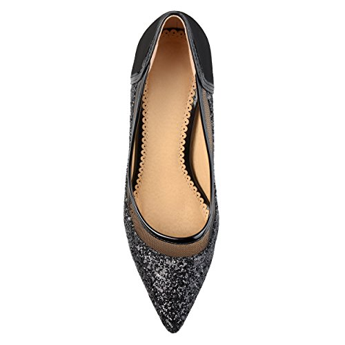 Womens Mesh Almond Black Collection Journee Journee Glitter Heels Collection Toe 6qaH6Ow