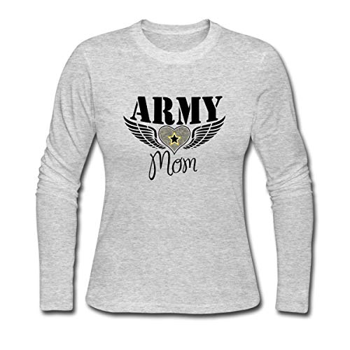 (Spreadshirt Army Mom Winged Heart Women's Long Sleeve Jersey T-Shirt, M, Gray)