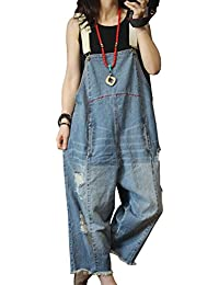 P60 Women Jeans Cropped Pants Overalls Jumpsuits Hand Painted Poled Distressed 100% Cotton Casual Loose Fit